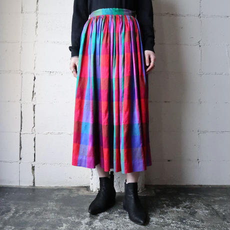 Vintage Silk Check Skirt PIGR