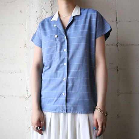 Open Collar StripeShirt BLWH