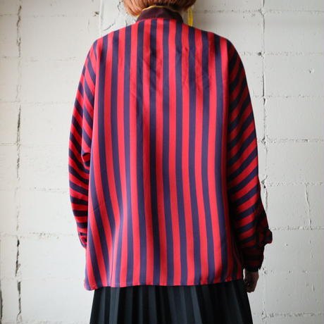 Stand Collar Stripe Blouse RE