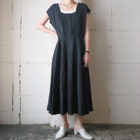 1950~60's Vintage French Sleeve Dress BK