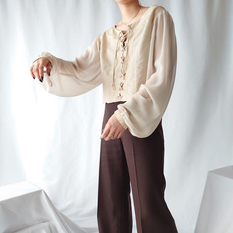 Seethrough Sleeve LaceUp Blouse BE