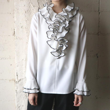 Raffled Collar Blouse WHBK