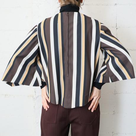 Design Sleeve Stripe Blouse BK YE