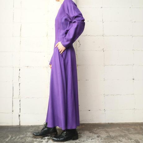 Flared Skirt Rayon Dress PUR