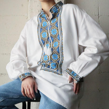60~70's EURO Embroidery Shirt WHBL