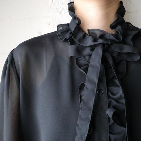 Seethrough Boe Tie Blouse BK