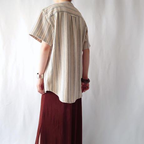 Band Collar Short Sleeve Stripe Shirt BE