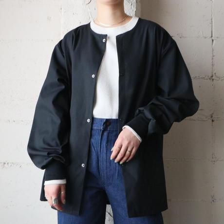 Collarless Shirt Jacket BK