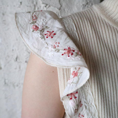 Flower Embroidery  Many Button Camisole IV