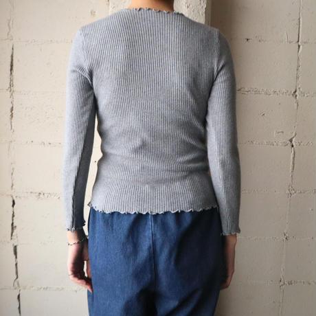 Frilled Collar&Hem Rib Knit GR