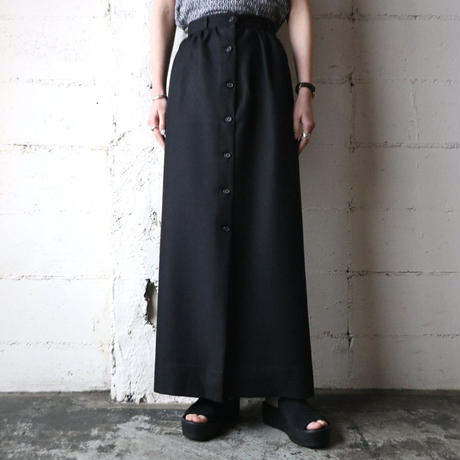 Front Button Tight Long Skirt BK