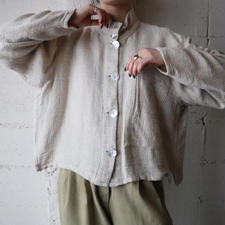 No-collar Linen Shirt
