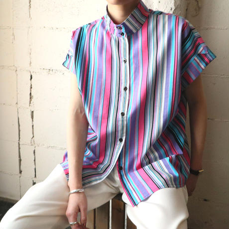 Stand Collar Stripe Shirt PIPUR