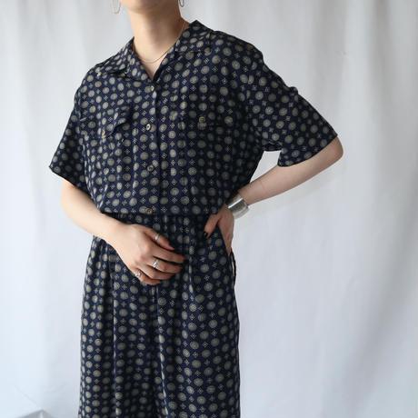 Small Pattern Short Sleeve Jumpsuit NV