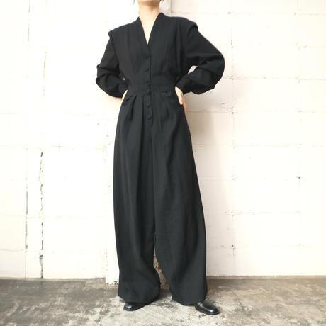Pleated Wool Jumpsuit BK