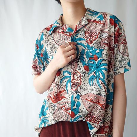 70's EURO Aloha Shirt BLRE