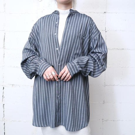 Stripe Band Collar Shirt GR