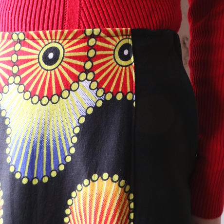 Pattern Front Long Flared Skirt BK