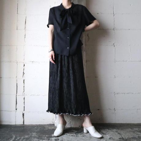 Line Hem Pleated Tight Skirt BK