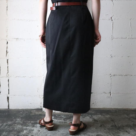 Front Button Tight Skirt BK