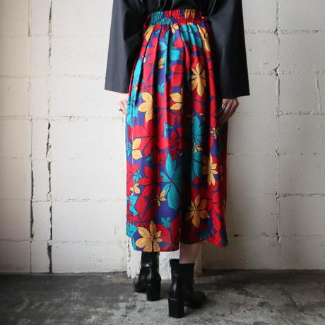 Leaf Pattern Gather Flared Skirt REBLYE