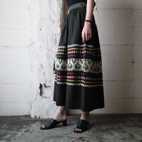 Embroidery Flared Skirt BK