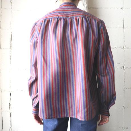 Band Collar Stripe Blouse GRBLRE