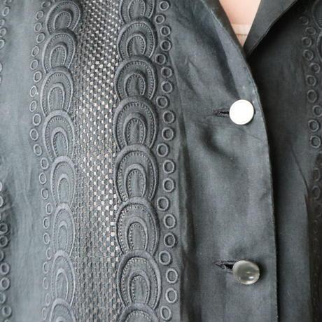 Open Collar Cutwork Blouse BK