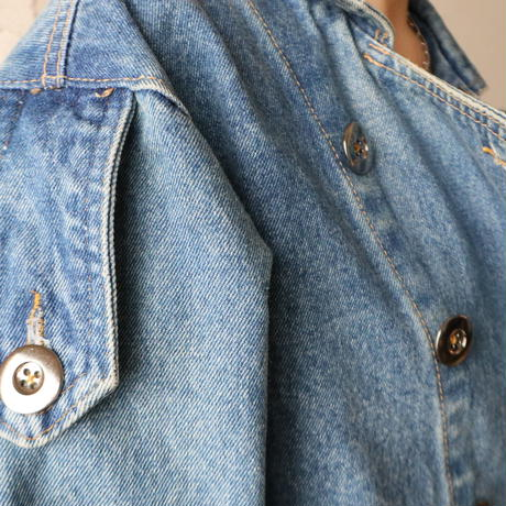 Double Breasted Denim Short Jacket