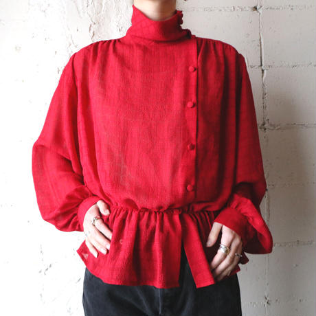 Stand Collar Design Check Blouse RE