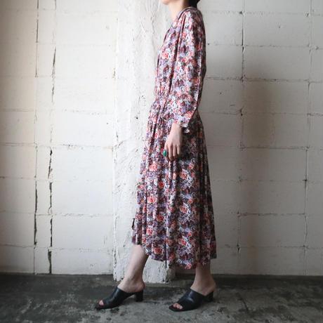 Flower  Pattern Open Collar Dress PI