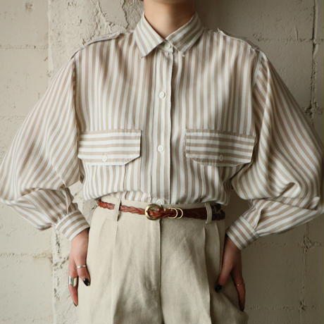 Double Pocket Striped Blouse BEWH