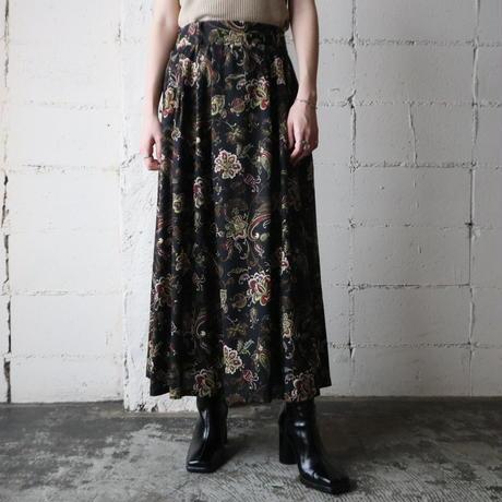 Botanical Pattern Flared Skirt BK BE