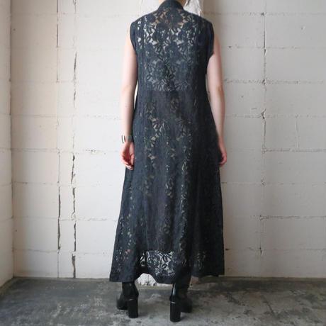 Leaf Pattern Lace Dress BK