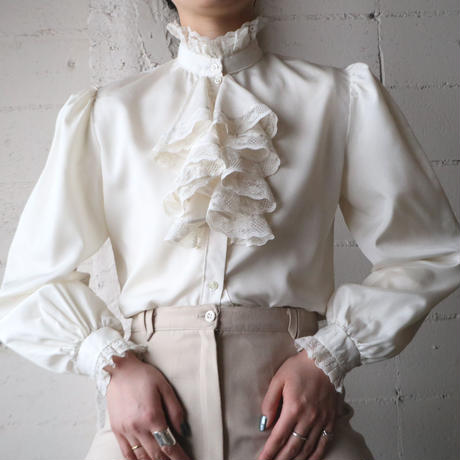 Raffled Front Stand Collar Blouse IV