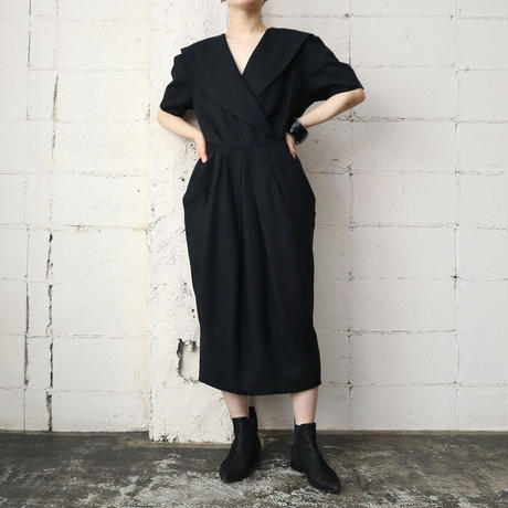 Big Shawl Collar Dress BK