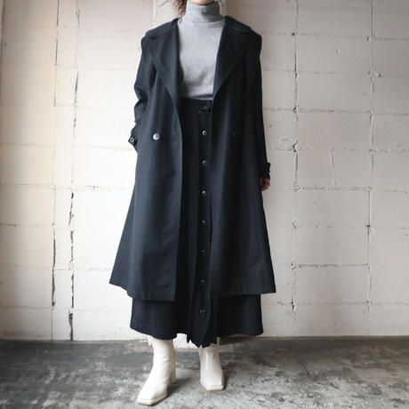 Round Collar Trench Coat BK