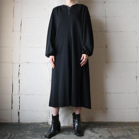 Coverd Button Puf Sleeve Dress BK