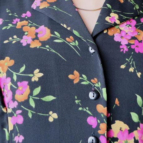 Flower Pattern Open Collar Dress BKPI