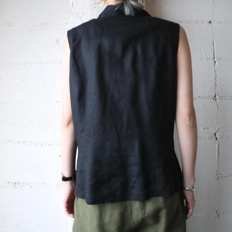 Sleeveless China Button Shirt BK