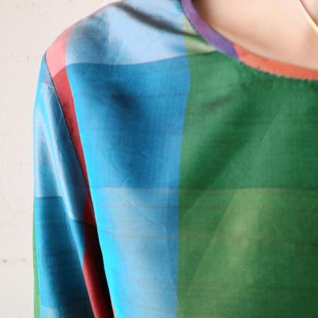 Flared Ribbon Sleeve Check Blouse REBLGN