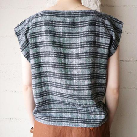 French Sleeve Stripe Blouse BKGR
