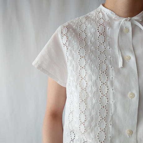 60's EURO Cutwork Embroidery Blouse WH