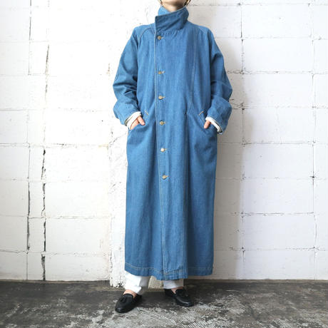 Stand Collar Denim Long Coat BL