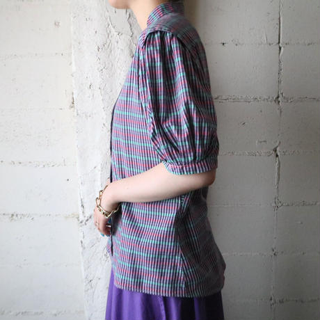 Puff Sleeve Check Blouse PUR