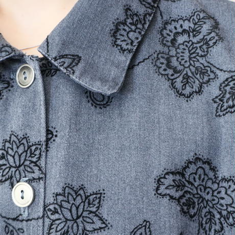 Leaf Pattern Shirt Dress GR BK