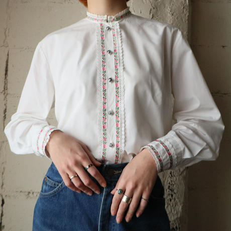 Flower Tape×Cut Work Lace Tyrolean Blouse WH
