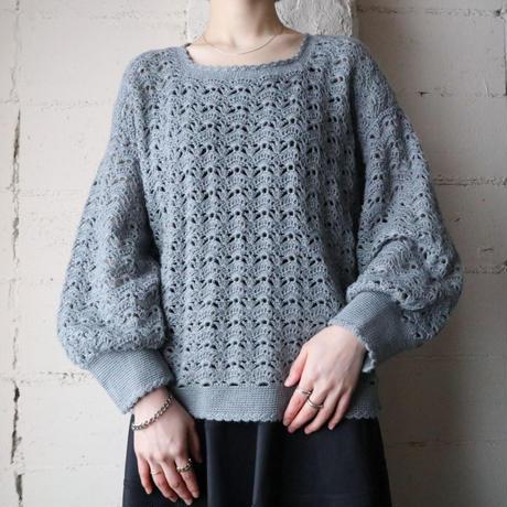 Volume Sleeve Crochet Knit BLGR