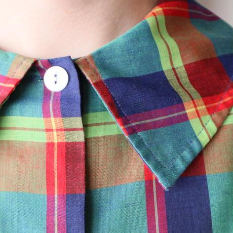 Vintage Flat Collar Check Blouse GRRE