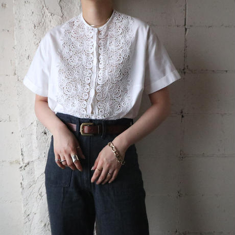 1960's Lace Collarless Blouse WH